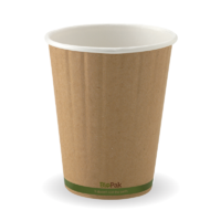 390ml / 12oz (90mm) Kraft Green Stripe Double Wall BioCup Ctn 1000pcs